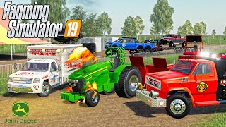 PULLING TRACTOR ENGINE BLOWS UP!?   (ROLEPLAY) FARMING SIMULATOR 2019