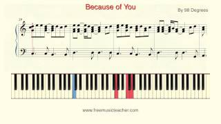 how to play piano because of you by 98 degrees piano tutorial by ramin yousefi