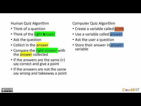 Quiz Algorithm Quiz Design (Modelling an algorithm before programming)