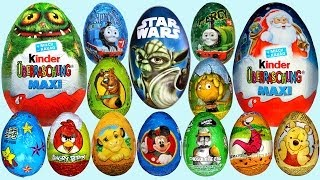 Repeat youtube video 20 Surprise eggs, Kinder Maxi Маша и Медведь Kinder Surprise Mickey Mouse Surprise egg