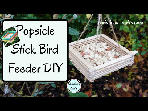 HOW TO MAKE A POPSICLE STICK CRAFTS BIRD FEEDER - Easy craft make for the garden