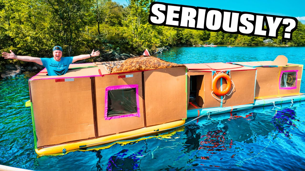 We Built A Massive BOX FORT House Boat On A LAKE! Cardboard Boat (24 Hour Challenge)
