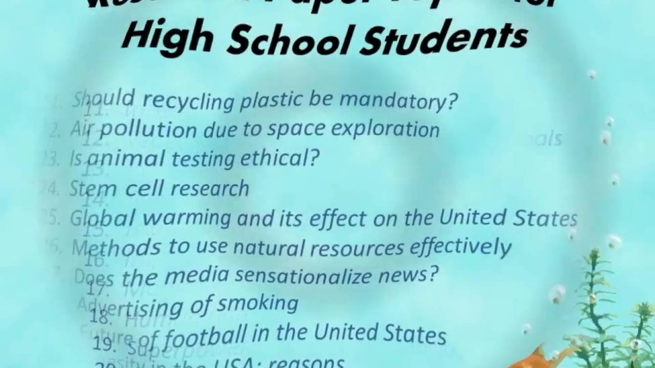 Charming Research Paper Topics For High School Students   YouTube