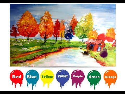 How to Draw landscape paintings simple  and Colorful Hands for Kids Learning Colors