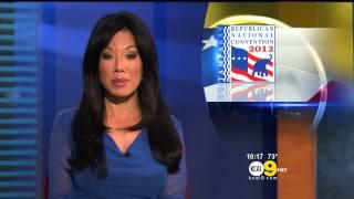 Sharon Tay 2012/08/27 KCAL9 HD; Blue dress