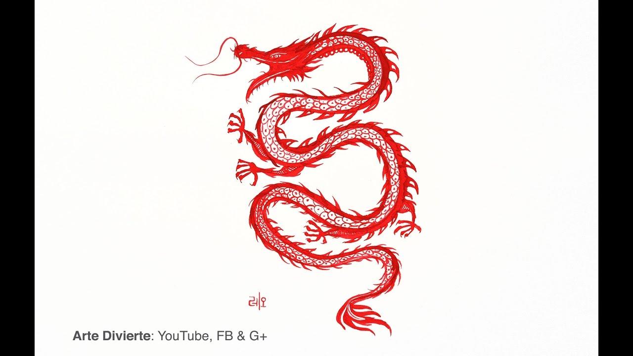 Cómo pintar un dragón Chino con pincel de bamboo - YouTube