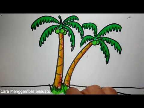 cara menggambar pohon kelapa  YouTube