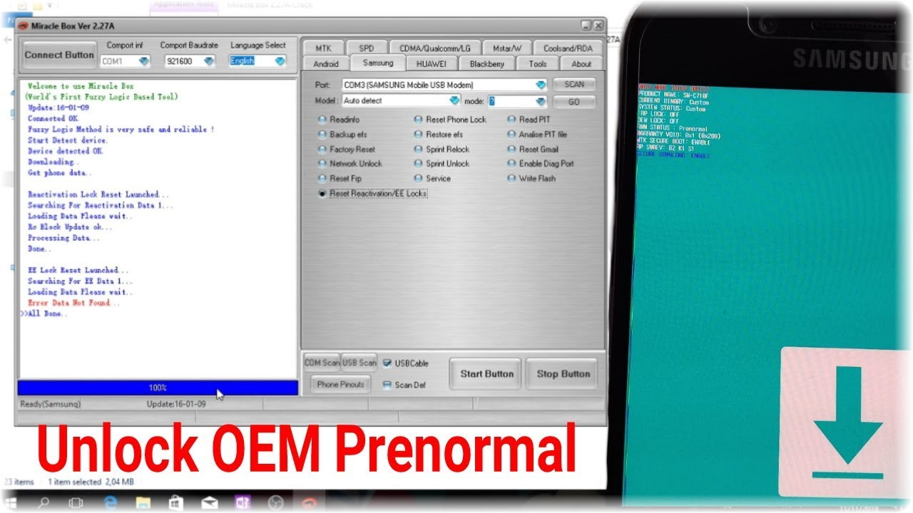 Fix OEM Prenormal All Samsung Android Devices || miracle cakra tools