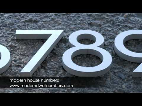 Modern House Numbers in Aluminum and Steel