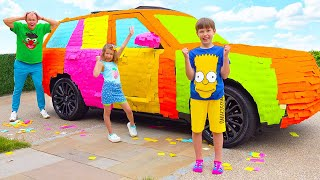 Max and Katy sealed dad's car with color stickers