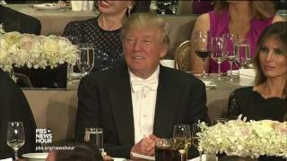 After raucous charity dinner, Trump and Clinton head to battlegrounds