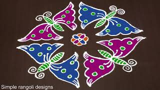 Rangoli Design: 12 to 2 Beautiful Butterfly Rangoli Kolam Designs [Sankranthi Muggulu]