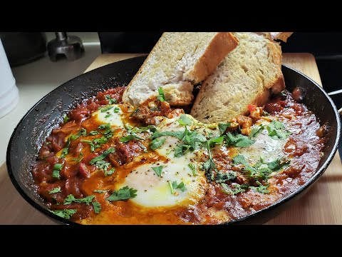 Shakshuka Eggs Pouched In Spicy Tomato and Pepper Sauce