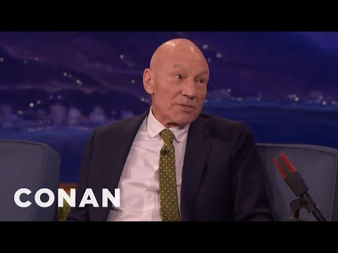 Sir Patrick Stewart Felt Safe In Hugh Jackman's Arms  - CONAN on TBS