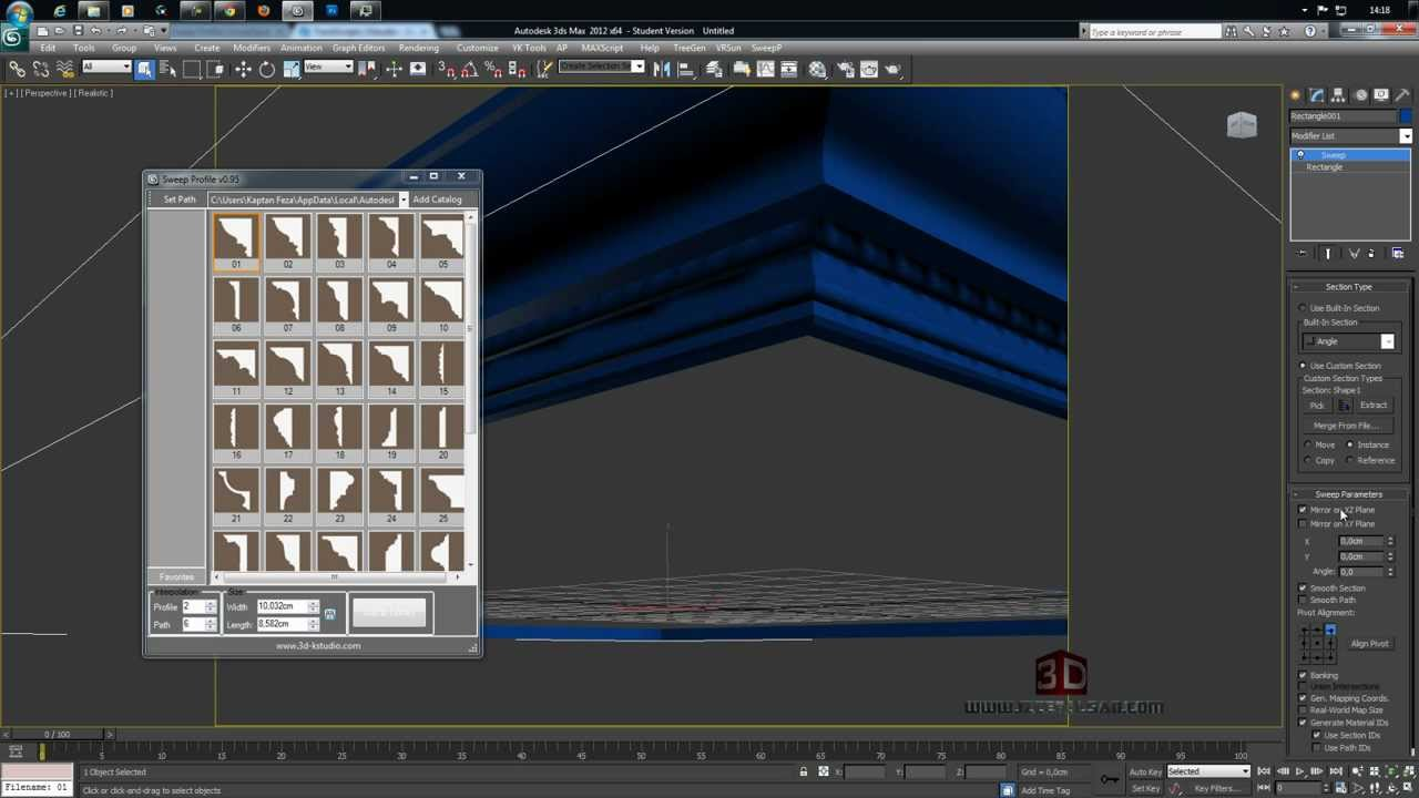 3ds max sweep profile scripti kurulumu ve kullanımı youtube.