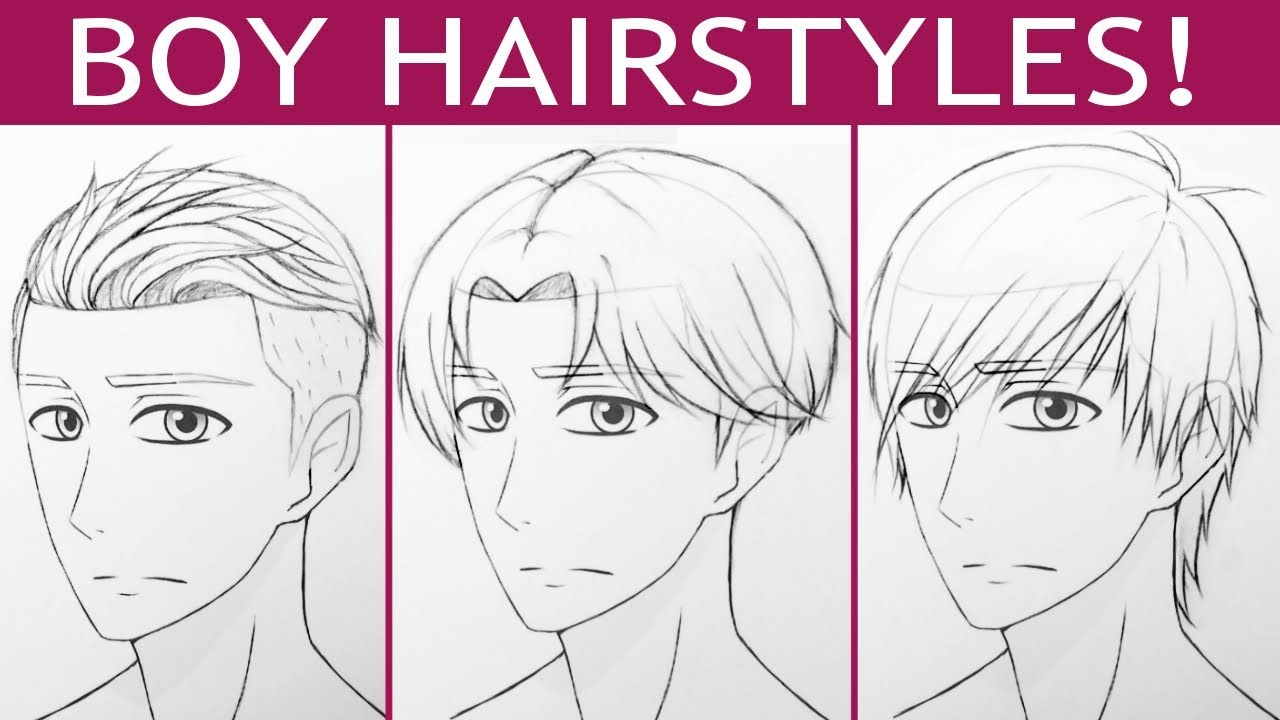 How To Draw 3 Manga Boy Hairstyles!
