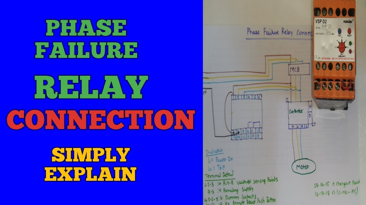 Phase failure relay connection/installation in motor starter on