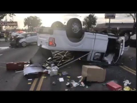 Hemet - Vehicle hits 3 cars blows thru a brick wall then causes a 3 car  accident with rollover