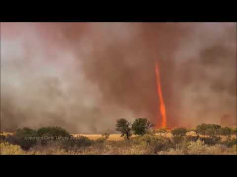 A whirlwind with fire therein is a rare phenomenon and the precise Quranic expression