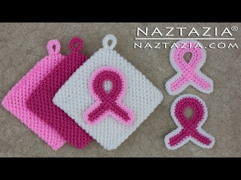 Learn How to Crochet - Pink Awareness Ribbon Magic Potholder & Refrigerator Magnet for Breast Cancer