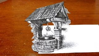 Drawing a Wishing Well - Cool Anamorphic 3D Trick Art