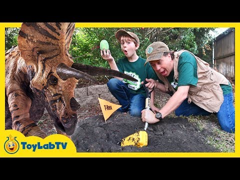 Dinosaur Eggs Challenge! Kids Jurassic World Surprise Toys, Games & Giant Triceratops Escape Plan
