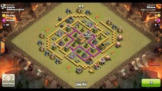 Clash of Clans TH8 vs TH8 Giant, Wizard & Healer Clan War 3 Star Attack