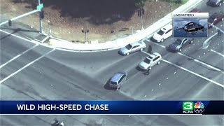 AERIAL VIEW: High-speed chase ends with shooting in Yuba City
