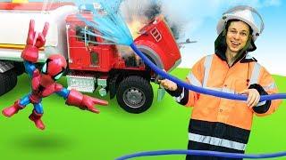 Автомастерская Фёдора - Пожарная машина для Мстителей - Видео для детей.