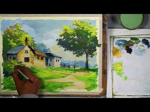 Acrylic Painting : House Landscape | step by step