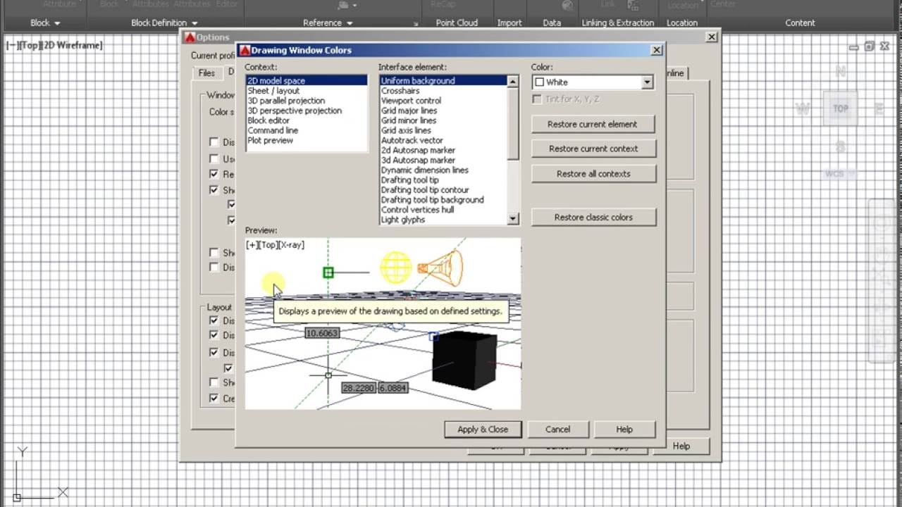 White Background In AutoCAD - YouTube