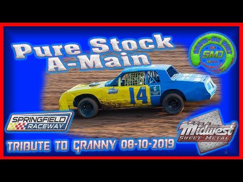 SO3-E395 Pure Stocks A-Main - Tribute to Granny Springfield Raceway 08-10-2019 #DirtTrackRacing