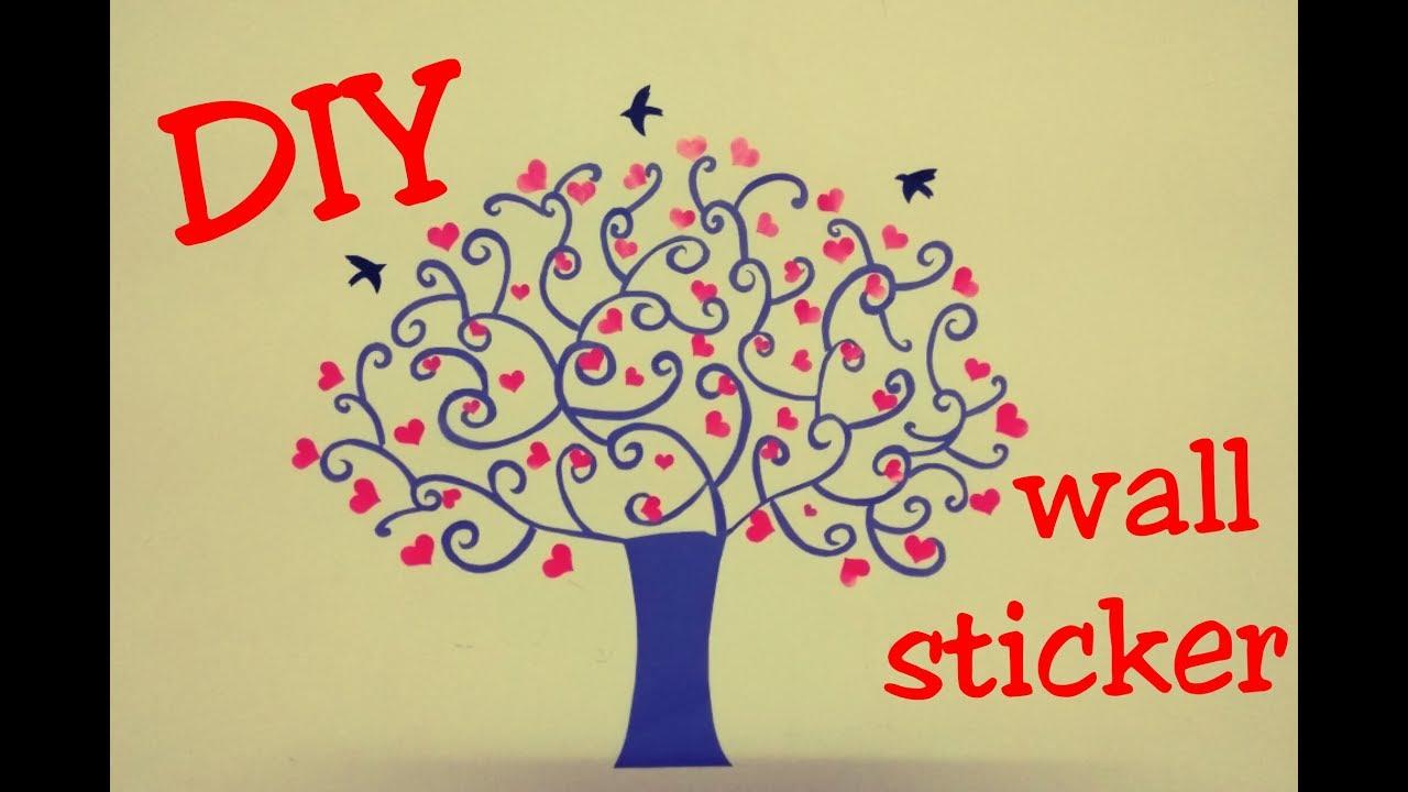 DIY Wall sticker | Wall Decoration | Paper Craft | Room Decor - YouTube
