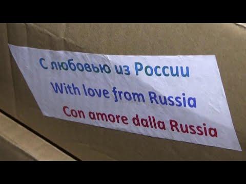 14 военных самолетов прибыли из России в Италию для помощи в борьбе с коронавирусом.