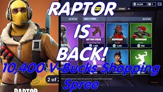 Fortnite *RAPTOR IS BACK!* 10,400 V-Bucks Shopping Spree