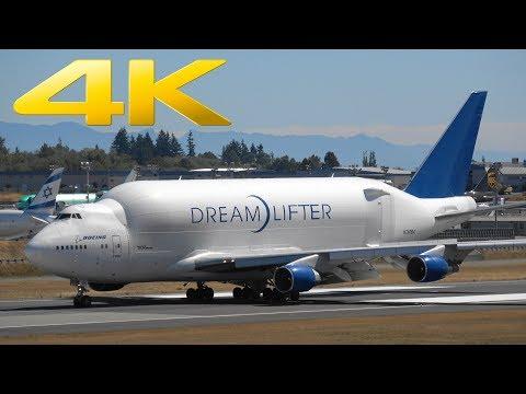 4K | Boeing 747 Dreamlifter Landing at Paine Field Everett