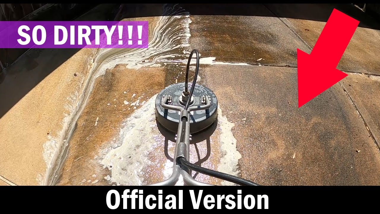 Cleaning a Black Dirty Driveway  - Satisfying Pressure Washing - Dirty to Clean
