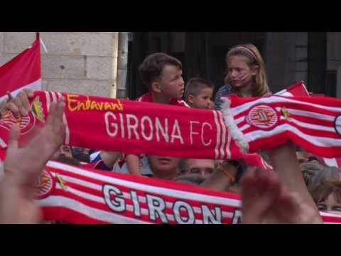Ascens del Girona FC a Primera Divisió. Vídeo de l'ambient previ a la celebració