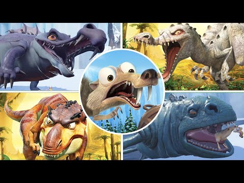 Ice Age Scrat's Nutty Adventure & Dawn of the Dinosaurs All Bosses (No Damage)