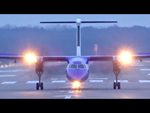 6x Dash 8 Q400 crosswind landing at Düsseldorf Airport | Air Berlin, FlyBe, AirBaltic