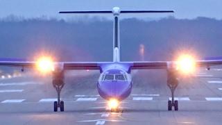 6x Dash 8 Q400 crosswind landing at Düsseldorf Airport   Air Berlin, FlyBe, AirBaltic