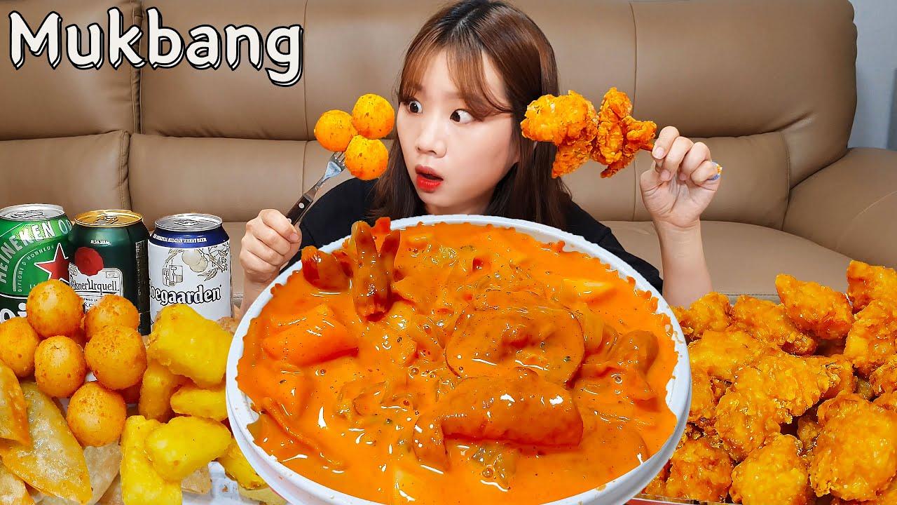 🥘로제떡볶이+순살치킨먹방🍗로제떡볶이 끝판왕 탄생?! (Ft.우유튀김,치즈볼,당면만두)TTEOKBOKKI CHICKEN MUKBANG ASMR EATINGSHOW REALSOUND