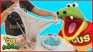 DIY Edible Slime Challenge how to make EDIBLE SLIME Gus the Gator Vs  Moe the Monster thumbnail