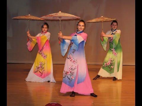 Chinese Umbrella Dance at Chinese New Year Celebration
