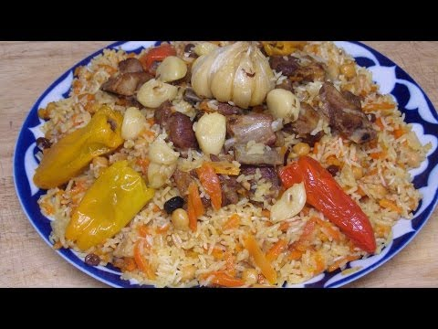 How To Cook Easy Rice Pilaf with Meat Carrot Raisins Garlic & Stuffed Bell Peppers From Scratch