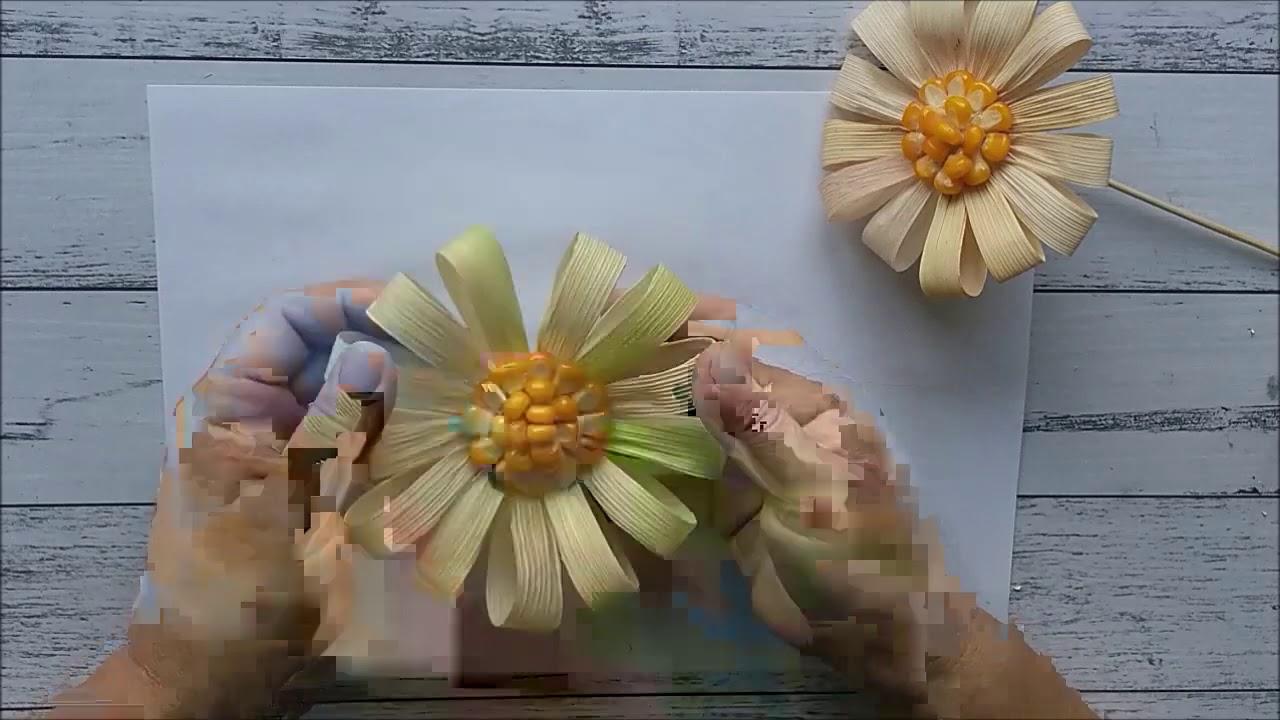 Kwiaty Z Lisci Kukurydzy Flowers From Corn Leaves Bluten Aus Maisblattern Youtube
