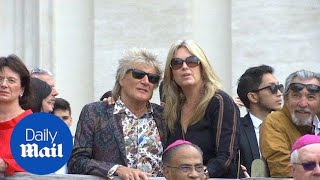 Rod Stewart and Penny Lancaster go to see the Pope at the Vatican
