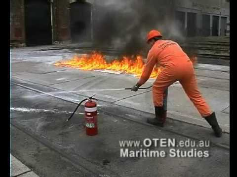 Fire fighting - Dry powder & Foam on oil Spill