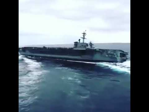 USS Abraham Lincoln CVN 72 Performing high speed Turns in Atlantic Ocean