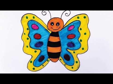 008 Cara Menggambar Dan Mewarnai Kupu Kupu Untuk Anak Menggunakan